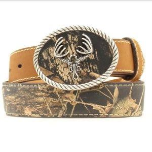 Nocona  Deer Skull Mossy Oak Leather belt
